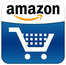 White Amazon website shopping cart on dark blue background with Amazon site logo