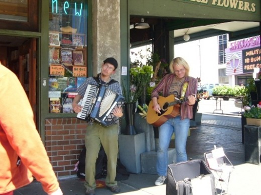 Pike Place Market Street Musicians on a corner