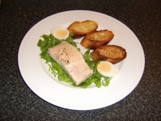 Poached Salmon Recipe with Homemade Bruschetta