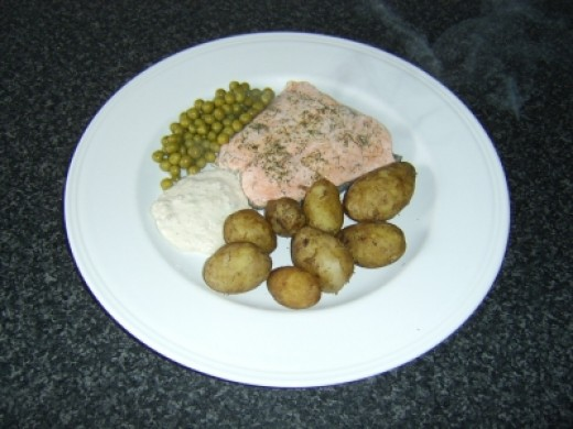 White Wine Steamed Salmon with Horseradish Sauce and Baby New Potatoes