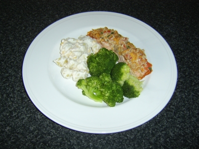 Cheese and Herb Crusted Salmon Fillet with Potato Salad and Broccoli