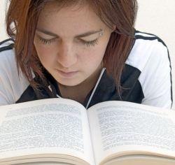 Girl engrossed in book
