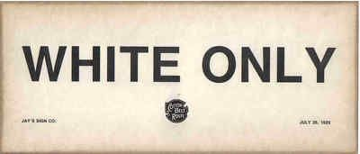 White Only Railroad Sign