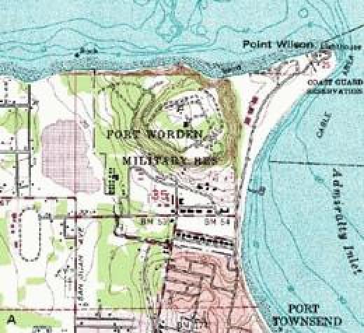 Map of Fort Worden, Washington