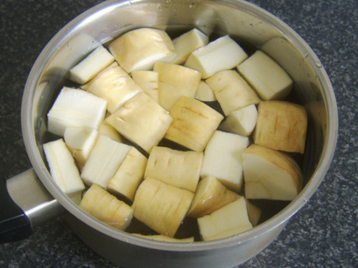 Chopped parsnips ready for boiling