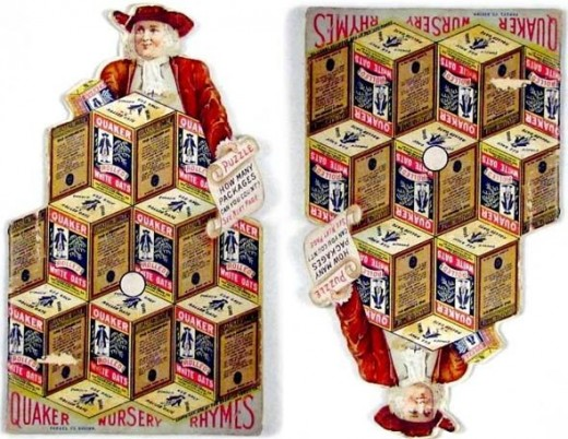 First used in the late 1800s, this Quaker Oats puzzle page challenged kids to count how many boxes of Quaker Oats they could find. When turned upside down, they expected to find the same number. So... just how many boxes do you see? (Photo is in publ