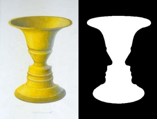 First published ca.1915 by Edgar Rubin, a Danish psychologist, the Rubin's vase is a well-known bi-stable illusion.