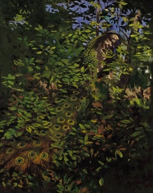"""Abbott Thayer's """"Peacock in the Woods"""" capitalizes on the way our natural world can create an illusion of a creature's absence."""