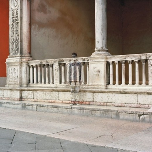 """This photo, """"Loggia di Fra Giocondo"""" by Liu Bolin (2008) is part of his """"Hiding in the City"""" series. Photo and interview with Mr. Bolin can be found at boxartgallery.com."""