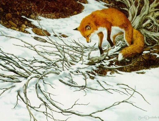 One of my favorite (and still missing from my collection!) artworks of Bev Doolittle. Do you see the arrow that forced the fox to lunge back? This work is available from her authorized gallery, www.artifactsgallery.com. (Click on her name above to se