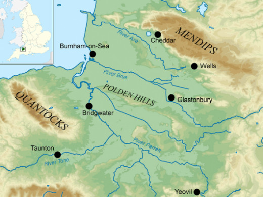 Map showing the Somerset Levels