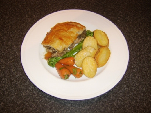Venison and Guinea Fowl Game Pie with Roasted Potatoes, Chantenay Carrots and Tender Stem Broccoli