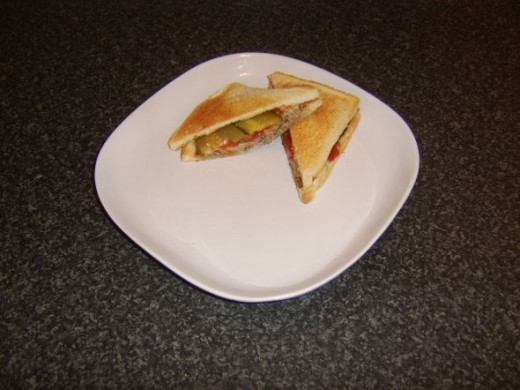 Cheeseburger toastie is served