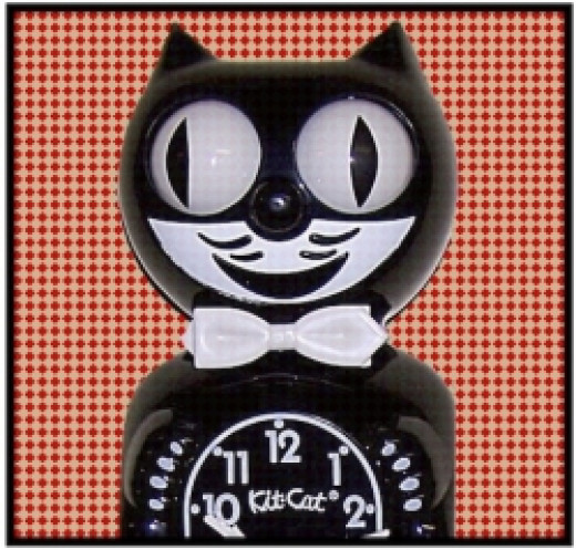 Retro Style Cat Clock with Moving Eyes and Tail Pendulum