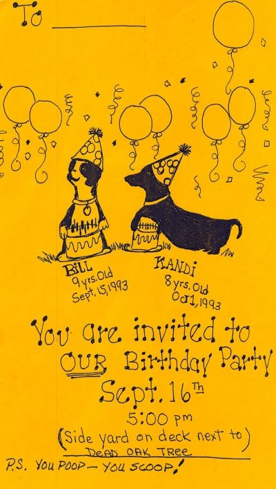 The Actual Invitation to the Doggie Birthday Party - No computer at the time of the party