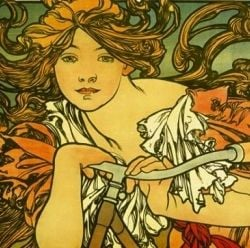 Detail from Mucha's Bicycle Ad, 1897.