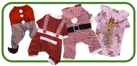 For the best selection of Christmas pajamas for dogs,  Including details about the pajamas shown above, please see