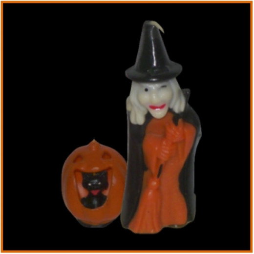 Two more Halloween candles - Love the black cat inside the jack-o-lantern and the ornery old witch