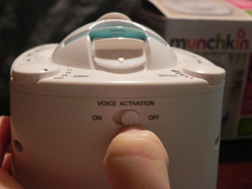 Here is where you will find the Voice activation switch (on the back)