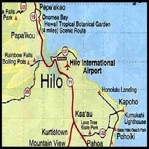 Big Island of Hawaii - Hilo Map