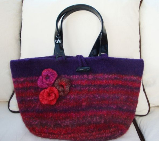 Purple is one of my favorite colors and this striped felted purse is ready to go wherever I go.
