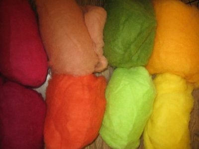 Rainbow colors of roving for dry felting