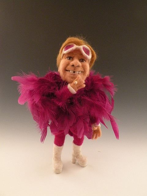 Sir Elton is one of the few stars who can get away with the most garish costumes, boas and all. No one can ever ruffle the shocking pink feathers of this celebrity Knight.