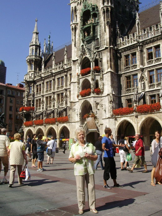 My Aunt Audrey Introduces The Five Dollars to Marienplatz, Munich - the large Square in the City Centre