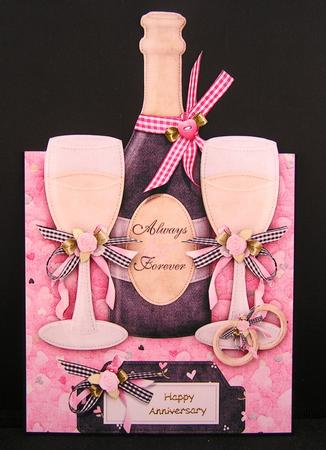 Wedding champaign over the edge card