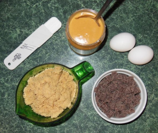All the ingredients you need for peanut butter chocolate chunk cookies