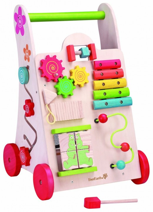 Maxim EverEarth Activity Walker - This is sure to keep the little one busy. There is a wire maze with three beads, a xylophone, four piece puzzle, shape sorters and a bag to keep other smaller toys and books.