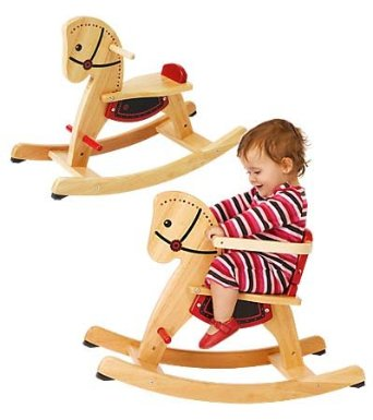 Grow-With-Me Wooden Rocking Horse - Natural rubberwood with black and red details. The rocker has safety bar around the seat which can be removed when the child grows older. I like the rubber stoppers on this to prevent tipping over.