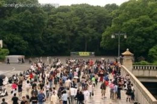 Cosplay communities usually hang out at the Jingu Bridge.