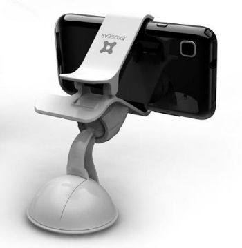 View of the back of the mounted phone. Notice that the camera is not blocked. Image Credit - Exogear