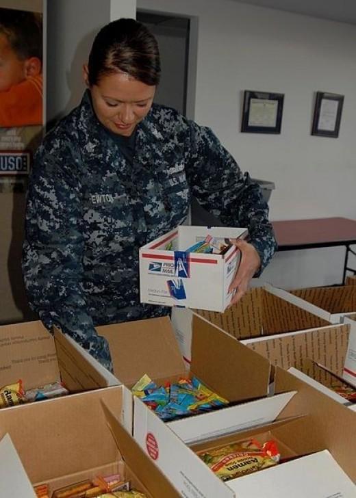 Soldier Preparing Care Package