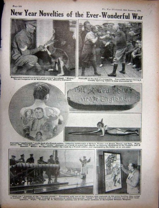 WWI 1916 French Soldier Tattoo Boxers Berlin Trenches A Page with Photographs Or Sketches Taken From The War Illustrated. A WWI Pictorial Record Of The Conflict Of The Nations Edited By J A Hammerton Editor Of Harmsworth History Of The World.