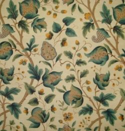 Fabric printed with a Jacobean design