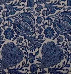 A typical period reproduction indigo resist design handprinted on 100% cotton