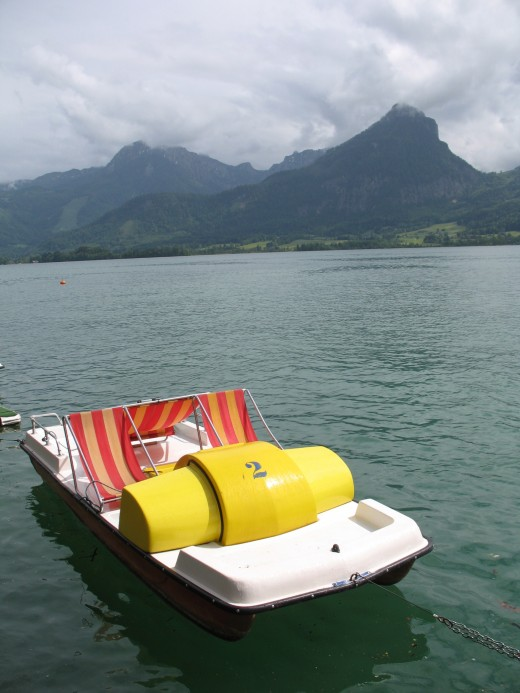 Paddle boat in the lake by St. Wolfgang in Salzkammergut