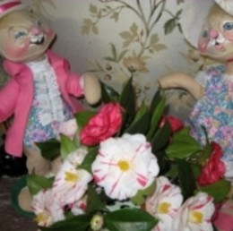 Photo Credit: Photo by Nancy Hellams of Camellia Blossoms and Annalee Easter Dolls