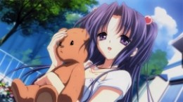 Kotomi Ichinose with her bear given by her parents