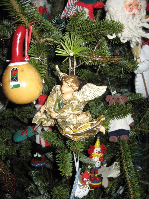 Birdhouse made from guord and a gold Angel from the white tree