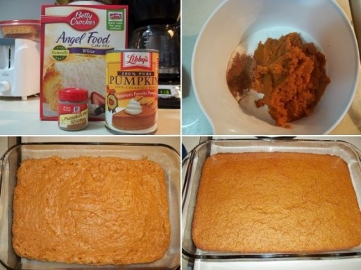 Pumpkin Angel Food Cake: Let me tell you what. I LOVE pumpkin pie but I don't love the time it takes to make one. This cake is the perfect substitute! It has that pumpkin pie taste with a fluffy cake texture and it only takes minutes to make (not to
