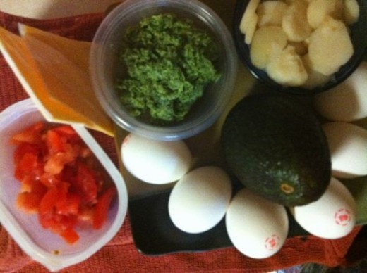 Ingredients used in avocado open faced omelet