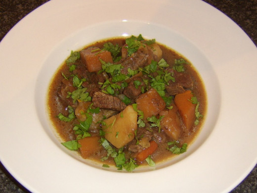 Imagine sitting on a cold boat or beach and tucking in to a bowl of hot beef and vegetable stew...