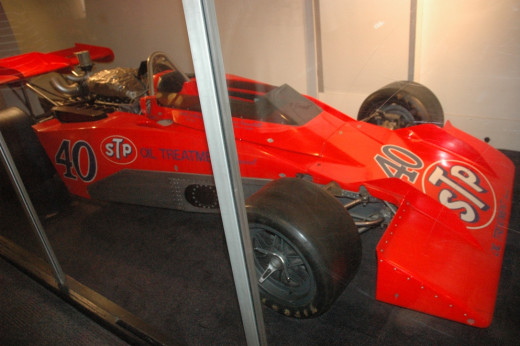This awesome race car was kept behind glass to protect it.