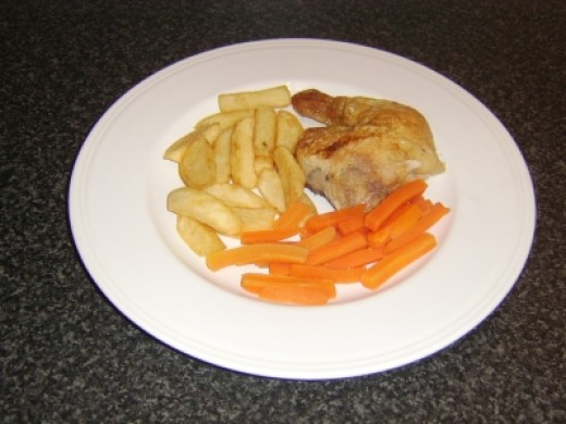 Roast Chicken Leg, Chips and Carrots