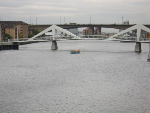 Work on the Kingston Bridge (seen here in the distance) began in 1967 and the bridge was opened in 1970. It is not only the busiest bridge over the River Clyde but one of the busiest stretches of road in the whole of Europe.