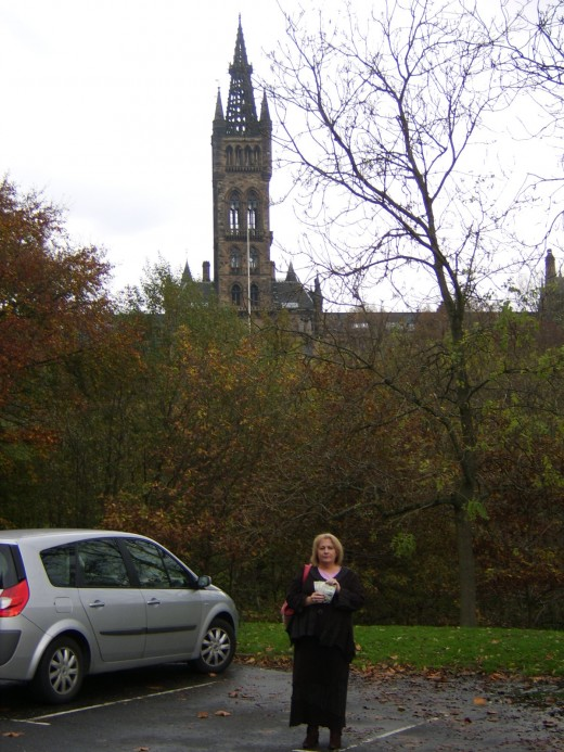 The Five Dollars with Glasgow University in the Background