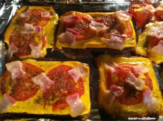Nanny's open-faced bacon tomato cheese sandwich is a fast easy lunch